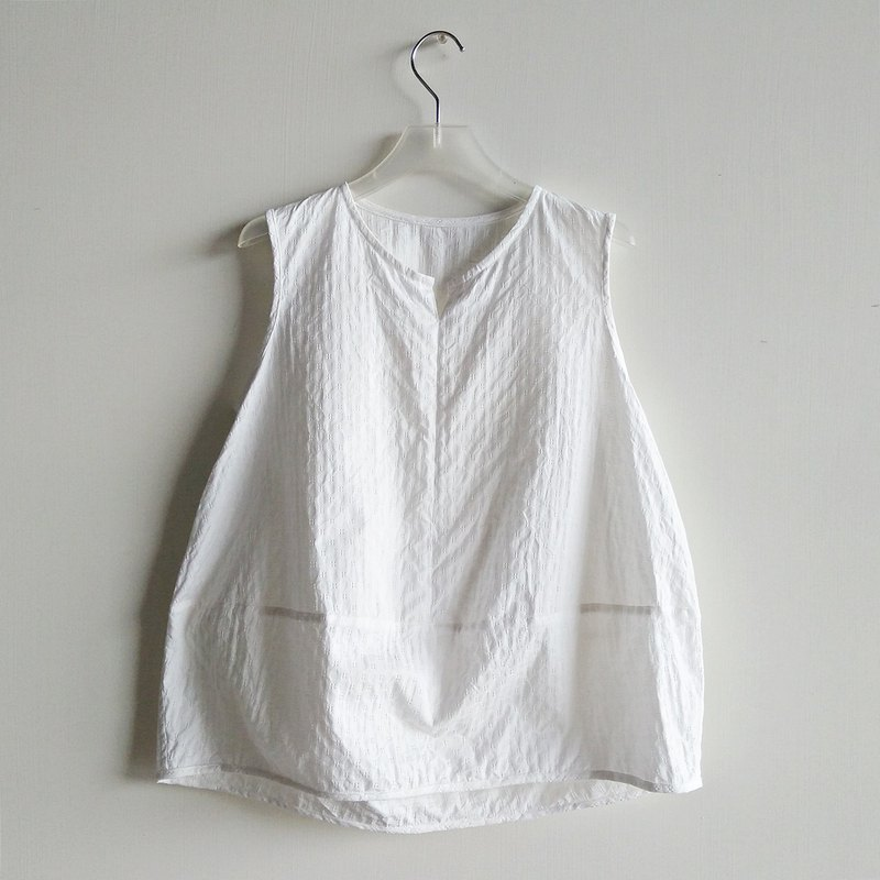 Small V micro-small stitching vest cotton white flower