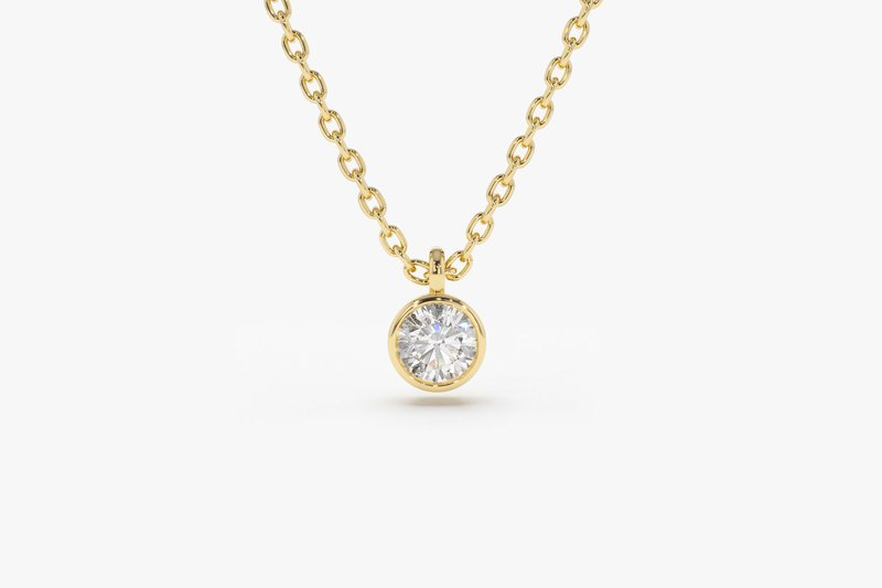 Round Diamond 925 Sterling Silver Necklace (Silver / Rose Gold / 14k Gold) | Single Diamond Series