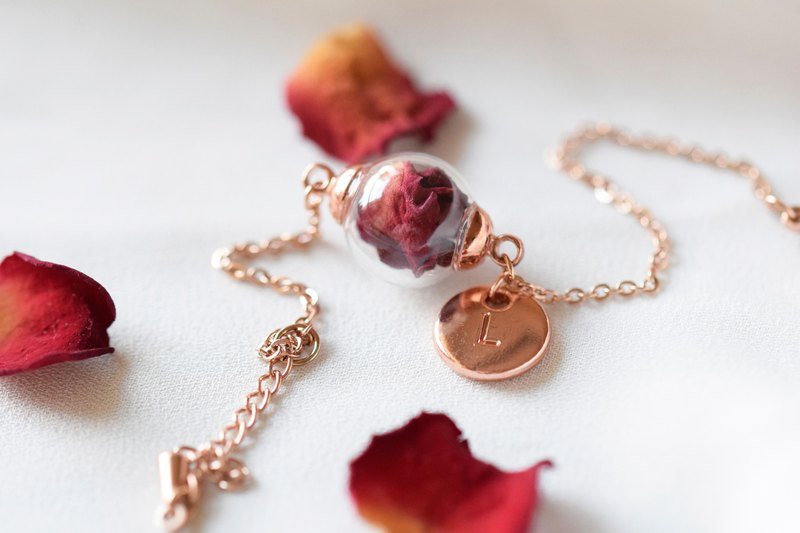 Real Rose Petal in Glass Ball Stainless Steel Bracelet / Rose Gold