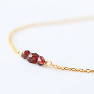 Garnet necklace - natural crystal necklace 18k gold plated - garnet choker