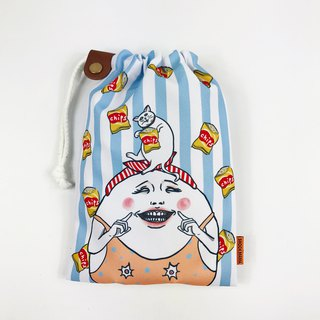 Smiling Eggheads / drawstring Pouch