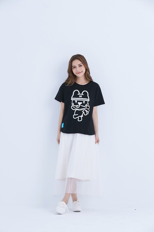 LAZYMARU-LM001552 Small MARU Rebirth Wide T (Black) Law Fighting Couples Taiwanese Wenchuang
