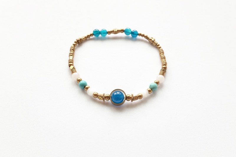 Brass Bracelet | Blue Agate | Morganite