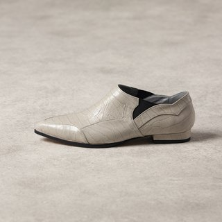 ZOODY / Overlay / handmade shoes / Flat-bottomed tip Lok Fu shoes / gray