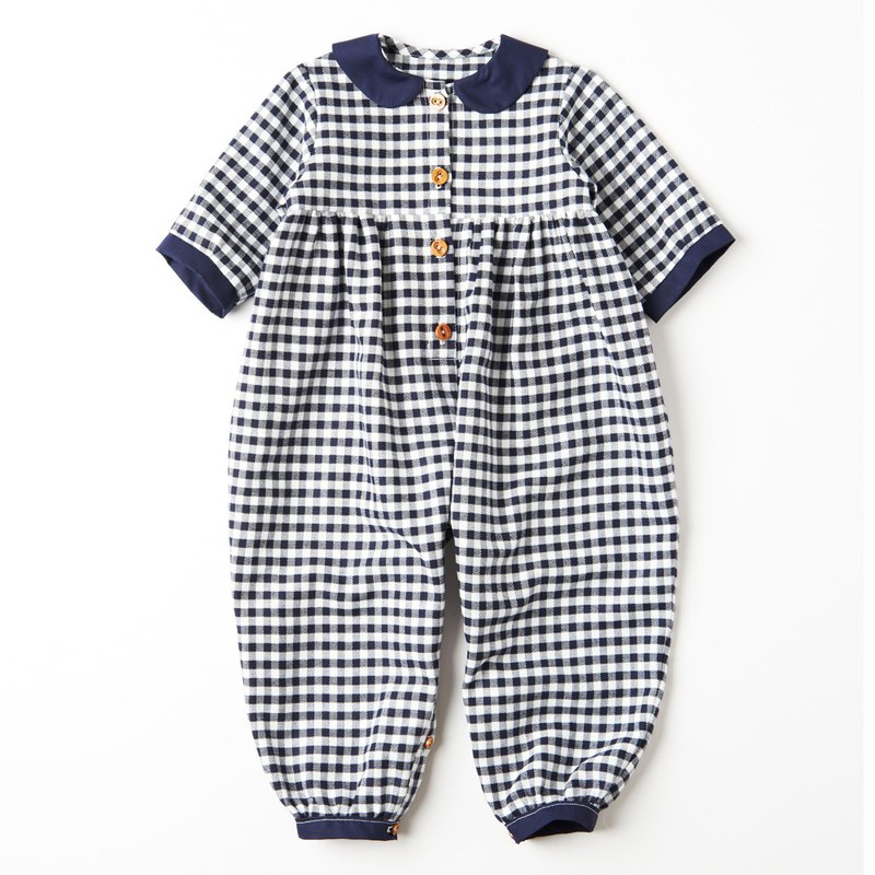Handmade in Britain - WHAT MOTHER MADE - Dark Blue Plaid Jumpsuit