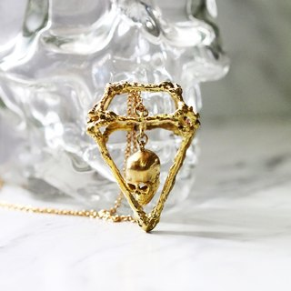 Rough Diamonds Skull Collection - The Uncommon Defy Project - Brass - Skull Diamond Skeleton Charm Necklace - UCBN103 - Original by Defy.