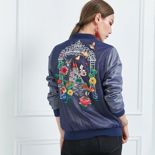 Alice in Wonderland Denim Embroidered Jacket