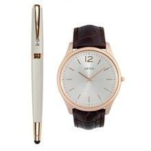 ARTEX 雅致觸控鋼珠筆玫瑰金白+5605真皮手錶