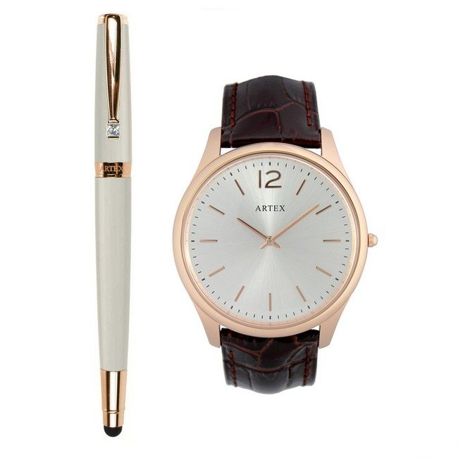 ARTEX elegant touch ballpoint pen rose gold white +5605 leather watch - brown / rose gold 43mm