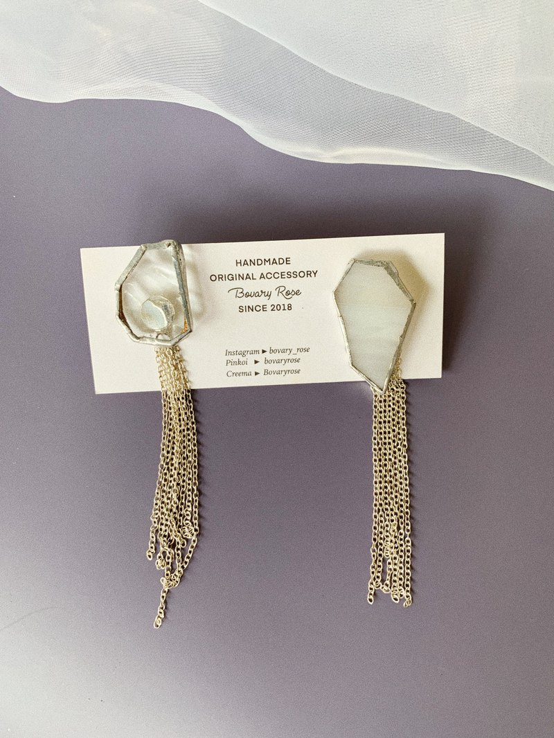 Asymmetric temperament sterling silver chain tassel inlaid glass mosaic solder earrings sterling silver earrings earrings
