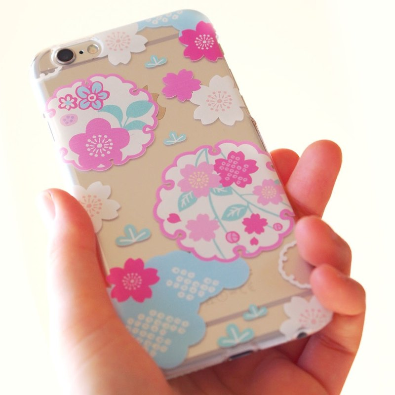 Clear iPhone case - Japanese Cherry Blossoms and Snowy Crystals -