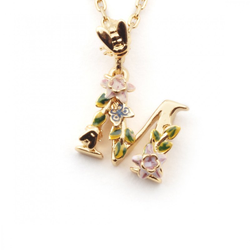 Floral English Letter M Necklace