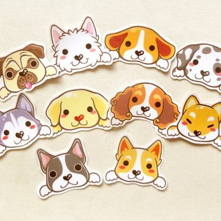 Dog Stickers 10 Pieces -  Waterproof Stickers - Pug, Boston Terrier, Corgi, Shi