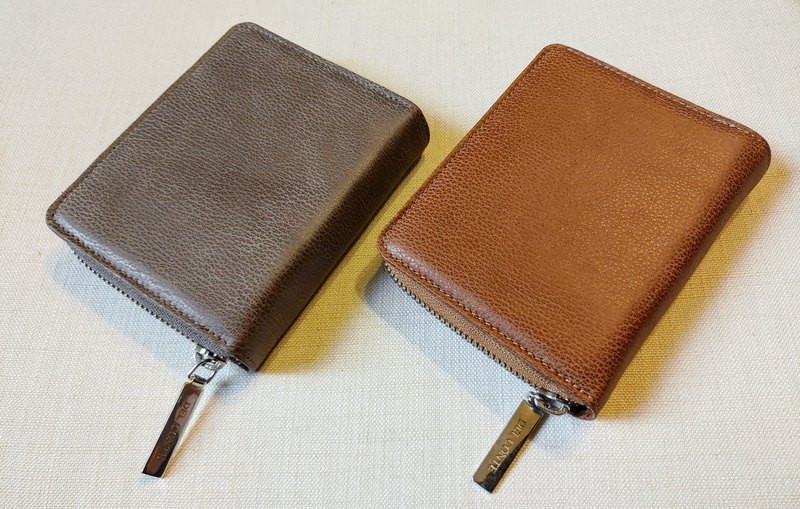 Fine-grained leather elegant two-fold 掀 short clip (grey brown / khaki)