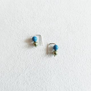 4mm round beads/Deep blue green/Color beads/Earrings/Sterling Silver/By hand【ZHÀO】SZE1774