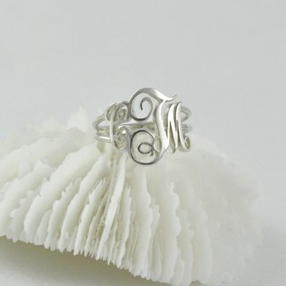 Customized letter combination flower word name ring sterling silver