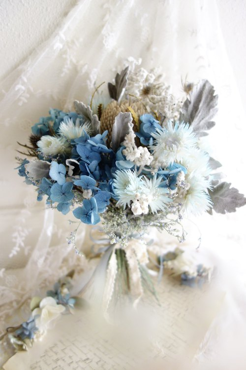 Wedding floral series ~ sea blue-grey bouquet