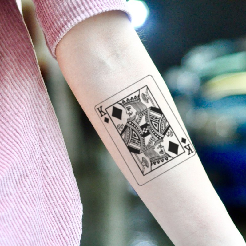 King of Diamonds Playing Card Temporary Tattoo Sticker (Set of 2) - OhMyTat