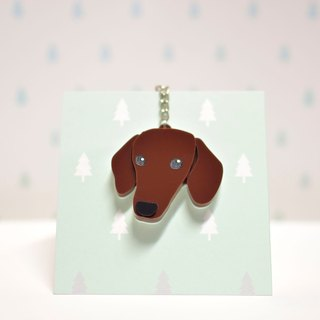 Coffee Dachshund - Short Hair - Key Ring Acrylic