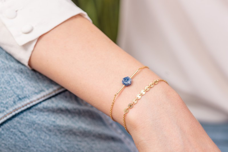 SET CHILE and ITALY Bracelets in 14k Gold-Filled with natural Blue Sodalite