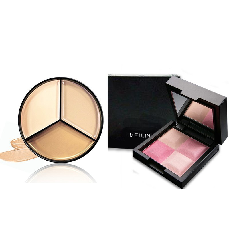 MEILIN full three-color concealer + MEILIN crystal 3D modified cheek blush (4 color cheek color plate)