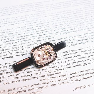 1960 silver antique watch movement tie clip