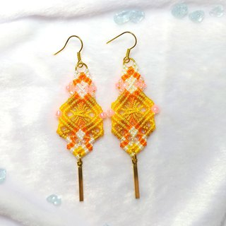 E015-Hand-knitted square heart earrings layered with stacked orange