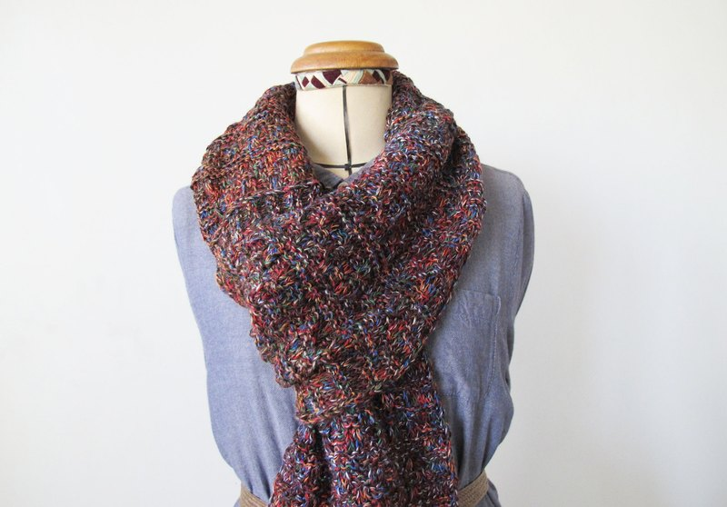 Lan wool scarf (red orange brown flower yarn)