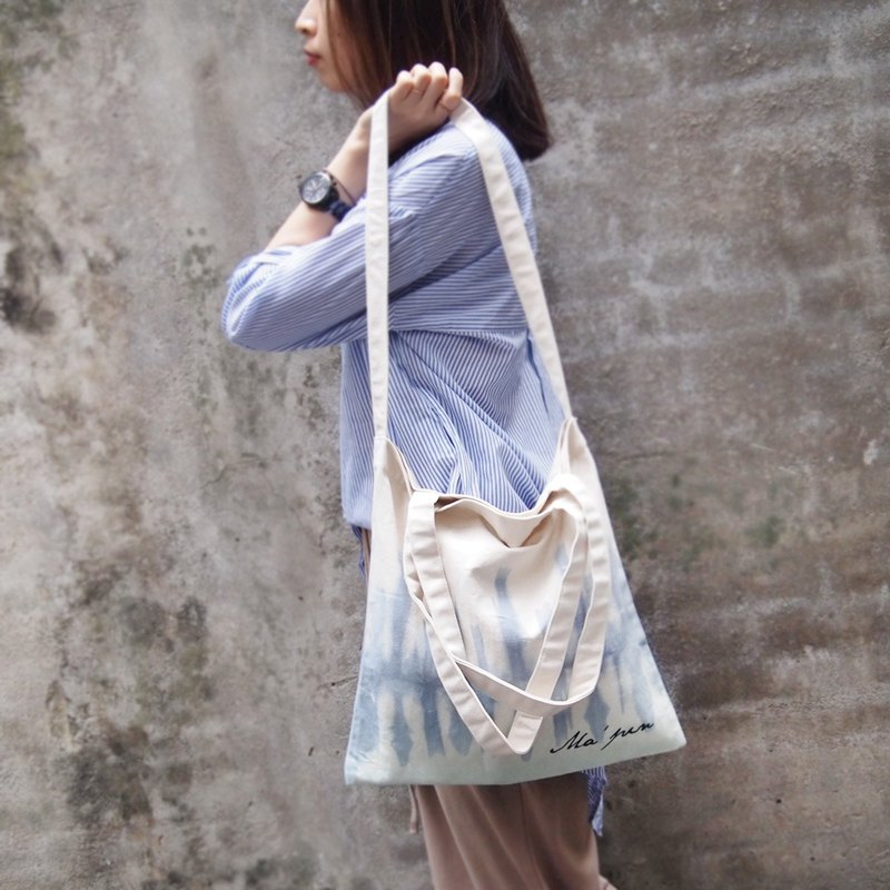 Midsummer tie blue x blue green cotton canvas hand dyed tote bag