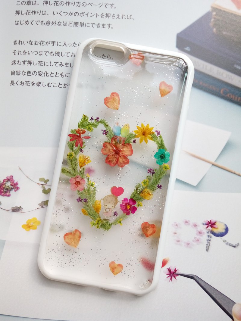 Handmade phone case, Pressed flowers phone case, iphone 6S, My Love