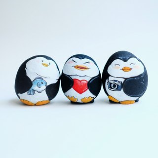 Penguin gang stone painting.