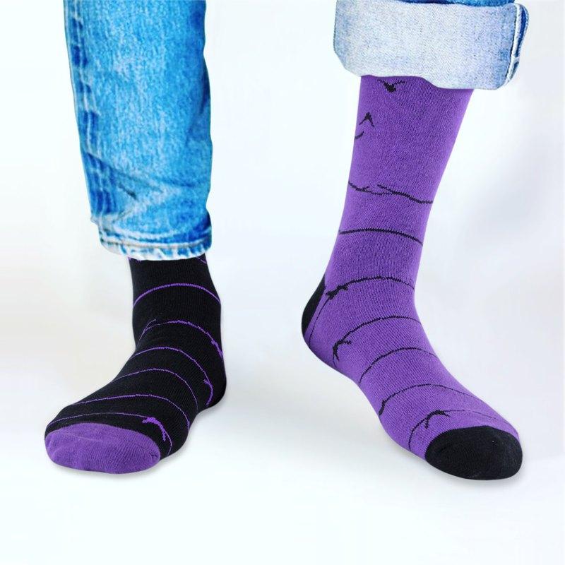 鳥帶-紫色 HONEY x 112 mountainyam 中性中筒襪