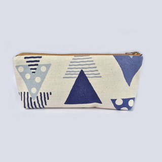 Triangle Pencil Pouch Canvas Zipper Pouch Blue - Back to School
