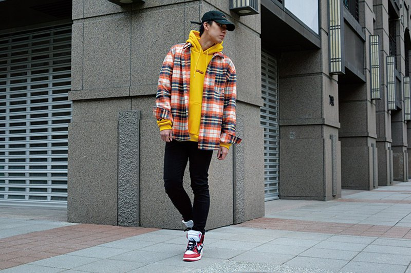 HWPD│Ghost Shop Crazy Jack Image - Flannel Check Shirt Mad Orange (See Off-White / Yeezy / Justin Bieber)