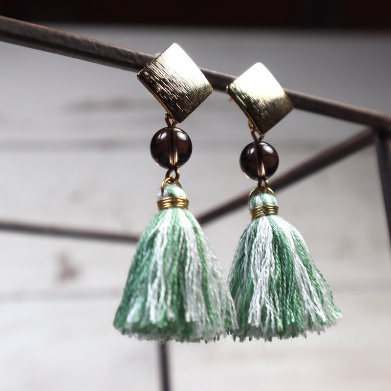 Camellia tassel green white brass earrings hand tied tassel brass