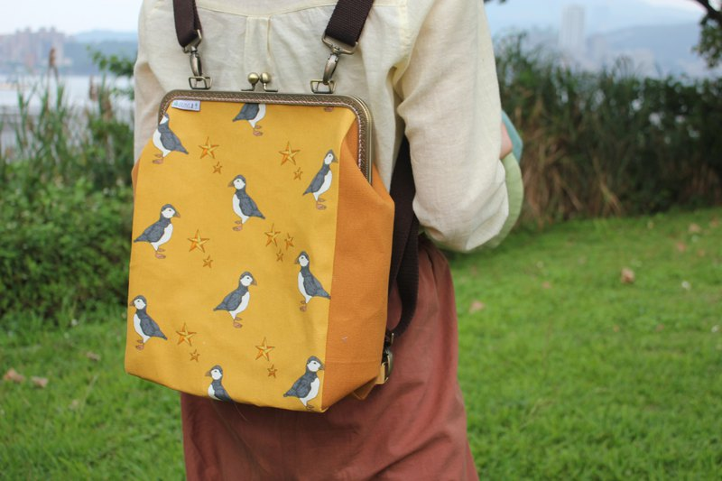 【Jumping Puffin-Sea Parrot】Toast mouth gold bag/backpack/side backpack/cross-body bag