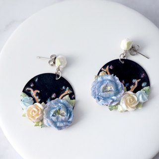 Earrings/Clip on =The Crescent - Garden of Dream= Customizable
