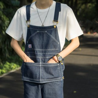 Lab store Japanese American retro denim loose bib couple one wash OVERALLS