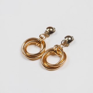 [Egg Plant Vintage] Lucky Three Ring Clip Antique Earrings