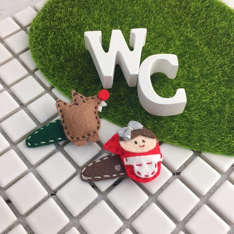 W & C Handmade || Little Red Riding Hood and Big Wolf || Little Red Riding Hood Non-woven BB Clip