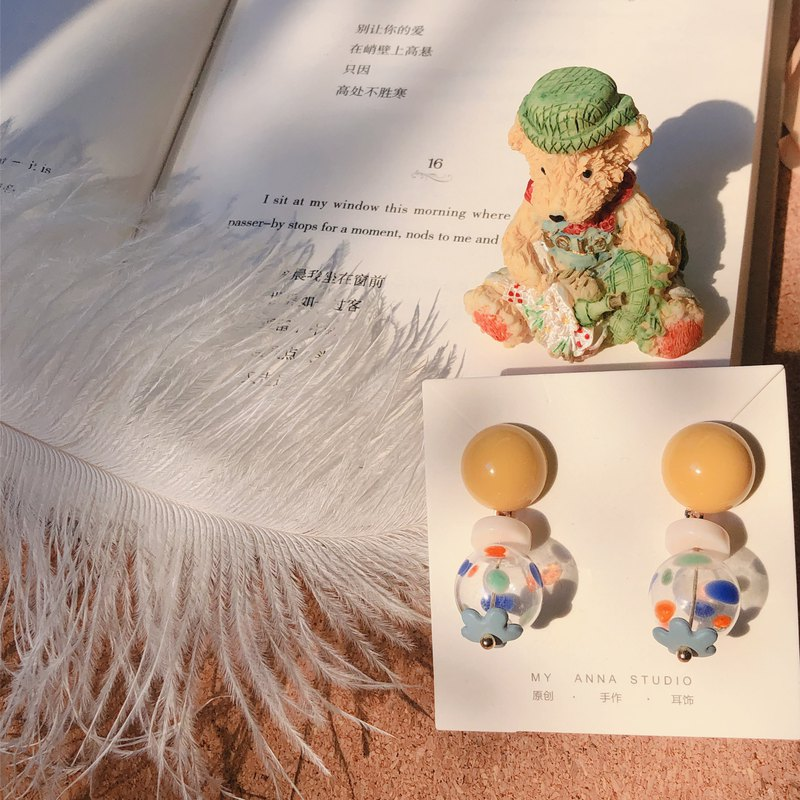 Milk yellow cake color funny cute hand-painted glass ball earrings ear clip
