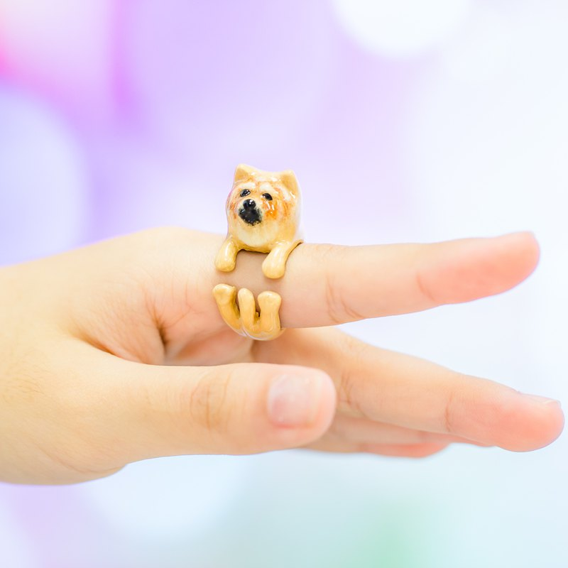 ChowChow Dog Hand Painting FreeSize Ring (Enamel, Adjustable Ring)