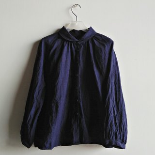 Fine-folded sleeved shirt linen dark blue