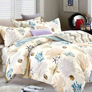 Coral Sea - double-sided design 100% combed cotton thin bed bag four-piece group (double 5 × 6.2 feet)