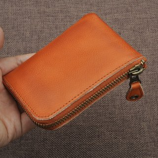 Leather YKK zipper wallet card leisure card credit card coin purse door 免费 card free guest English