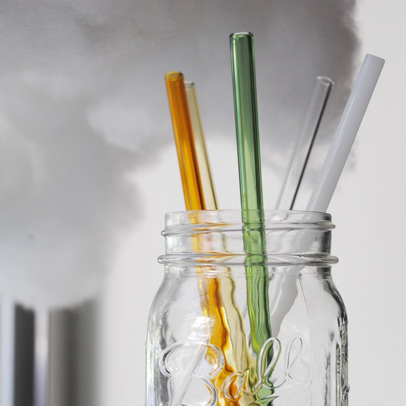 20cm (caliber 0.8cm) flat mouth rainbow heat-resistant glass straw (with cleaning brush) environmentally customized