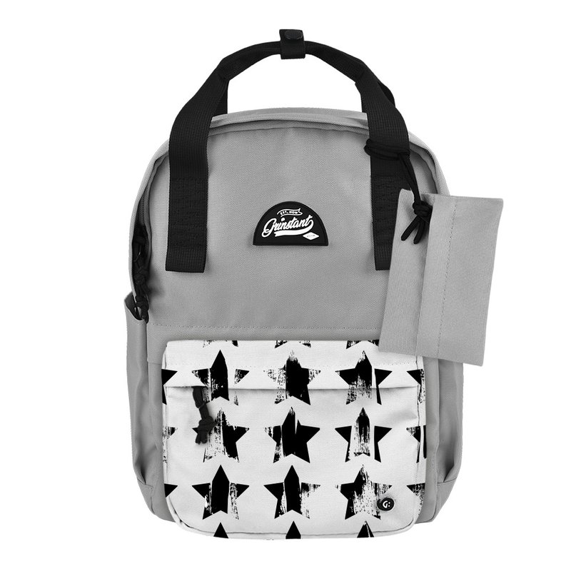 Grinstant mix and match detachable group 13 吋 backpack - black and white series (gray with stars)