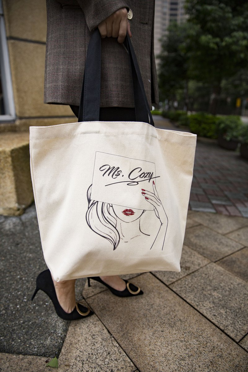 MS COZY black handle shoulder canvas bag