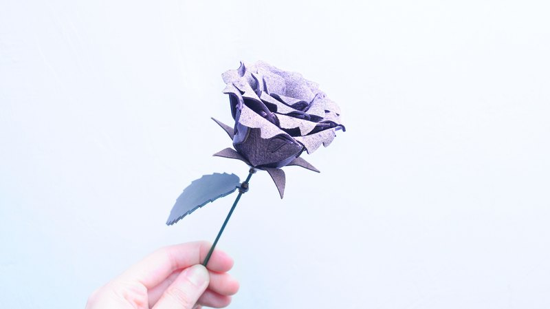 Leather Rose - Wipe Purple Leather Material Pack Free Pressing Leather Flower Valentine's Day Gift