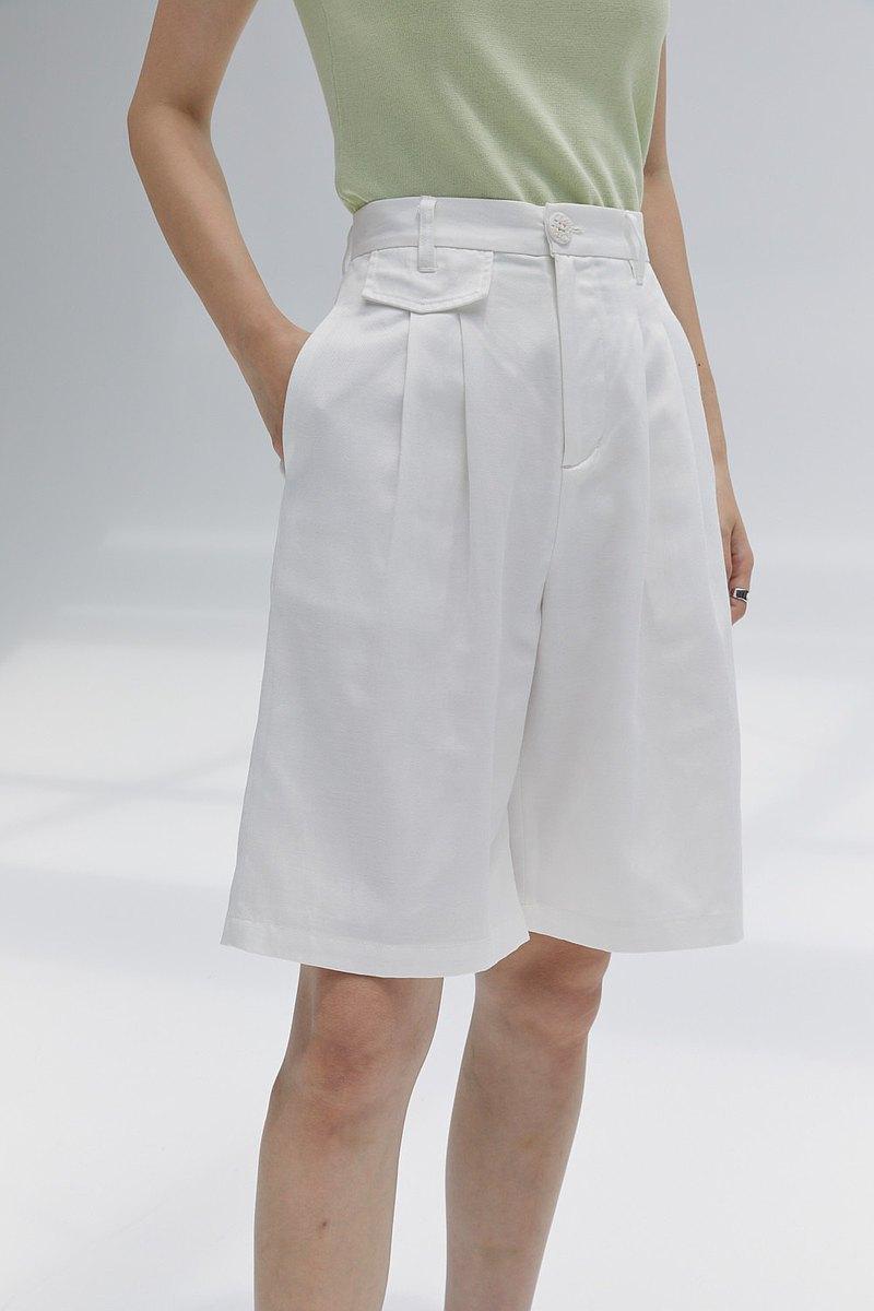 白色 兩色 經典極簡 天絲棉複古中褲 男孩感寬松顯瘦五分褲